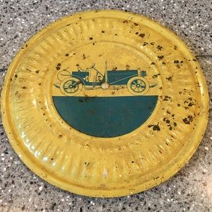 Rustic Decor Vintage Stove Cover Plate Yellow Car